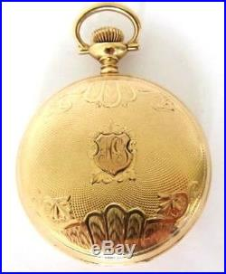 14K Solid Gold WALTHAM Pocket Watch S16,17J, Hunter Case, 85.7 Grams, RUN