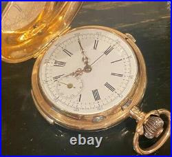 14k Solid Gold ¼ Hour Repeater Chronograph Hunter Case Pocket Watch 96.7g, 53mm