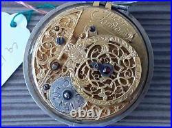1700s ANTIQUE VERGE FUSEE PAIR CASED POCKET WATCH