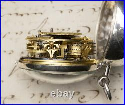 1700s British London Champleve Dial Pair Cased Antique Verge Fusee Pocket Watch