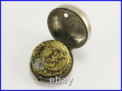 1700s Geo. Davis London Sterling Silver Oignon Fusee Pocket Watch with Case