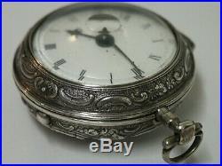 1783 Joseph Stephens, London. Silver Repousse Pair Case Verge Pocket Watch