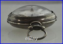 1811 John Bentley Verge Fusee Pocket Watch Sterling Silver Pair Case Georgian