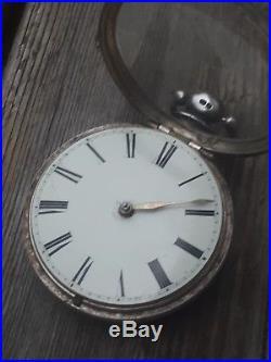 1846 John Nicholas Daventry Fusee Verge Pocket Watch Birth Pair Case Running Tlc
