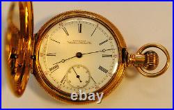 1888 year model Amn. WALTHAM POCKET WATCH, 17 JEWELS 14K GOLD HUNTER CASE