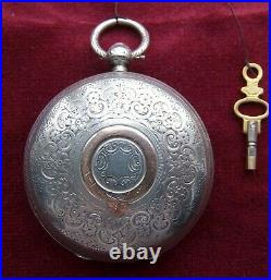 1889 large fusee hunter pocket watch with decorated case