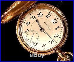 1890s Illinois Bunn Special railroad pocket watch, hunter case, 18-size, 24 jewel