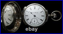 1892 Hampden Pocket Watch 7J 18s in Coin Silver Box Hinged Hunter Case sterling