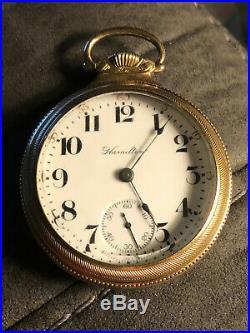 1899 Hamilton Pocket Watch Size 18- 17 Jewels Heavy Case Glass Crystal