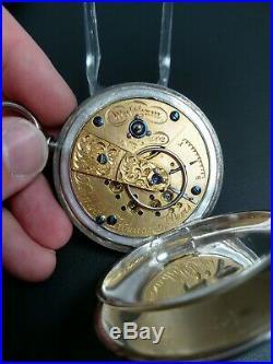 18S Waltham 15J Dennison, Howard, & Davis Mod. 1857 Sterling Silver Hunting Case