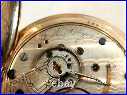 18SZ Hampden Pocket Watch in Gold Filled Hunters Case -15J Serviced, Runs Good