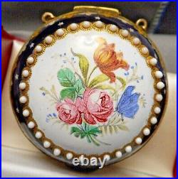 18th c. Breguet Lady's Pocket Watch Fusee KW in Floral Enameled Clamshell Case