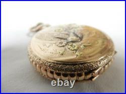 1901 Vintage 10 Kt Gold Case, Elgin Blue Face Pocket Watch, 0s, 7j #pw19