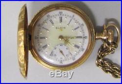 1910, Elgin, Illinois, 14 Kt. Gold Ladies Pocket Watch, 15 Jewels-Hunter`s Case