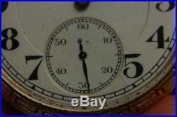 1918 BURLINGTON POCKET WATCH In BULLDOG 14KT GF CASE 21 JEWELS I-6340
