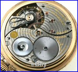 1918 Ball Waltham 16s 21J Railroad Grade Pocket Watch With Stirrup Bow Case RUNS