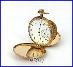 1920s Elgin Fancy Carved Bird Hunter Case & Movement 14K Gold Pocket Watch