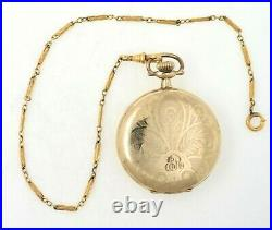 1922 Elgin 12S Mens Gold Filled Hunter Cased Pocket Watch With Chain RUNS