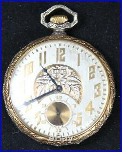 1923 Elgin Grade 315 12s 15j Pocket Watch TWO-TONE FANCY GF Case Runs