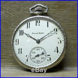 1927 South Bend STUDEBAKER POCKET WATCH, 21 Jewel, 14k White Gold Case, RUNNING