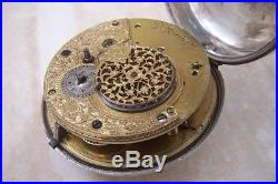 A SILVER INNER PAIR CASE CHAIN FUSEE POCKET WATCH c. 1816
