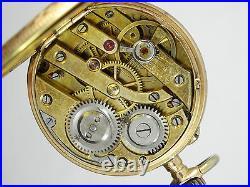 ANTIQUE 19c SOLID 14K GOLD LADIES POCKET WATCH 29 mm case 18 g WORKING GOOD