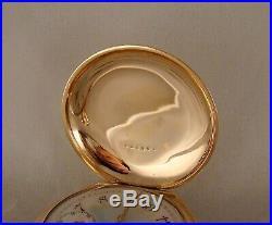 ANTIQUE ELGIN 14k GOLD FILLED BOX HINGE HUNTER CASE FANCY DIAL 18s POCKET WATCH