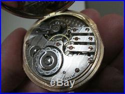 ANTIQUE LEVER SET RAILROAD 14k GOLD FILLED DOUBLE HUNTER CASE 17J POCKET WATCH