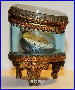 ANTIQUE VICTORIAN FRENCH SILVER LADY'S POCKET WATCH & FRENCH GLASS CASE damaged