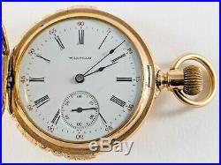 ANTIQUE WALTHAM SEASIDE 14K Solid Gold HUNTING CASE 6 SIZE POCKET WATCH C 1898