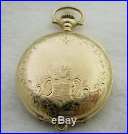 Antique 0s Elgin Fancy Dial 15j Gold Filled Hunter Case Pocket Watch