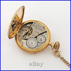 Antique 14K Waltham Carved Swirl Ribbon Hunters Case Men's Pocket Watch