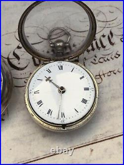 Antique 1779 Georgian Silver Verge Fusee Pair Cased Pocket Watch With Chatilane