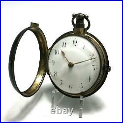 Antique 1790 Sterling Silver Pair Case J. Johnstone Verge Fusee Pocket Watch