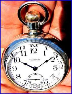 Antique 18 Size 21 Jewel Salesman Display Case Pocket Watch Waltham Crescent St