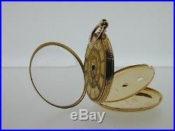 Antique 18 ct gold pocket fob watch Baume B&L 96647 travel case Roman numerals