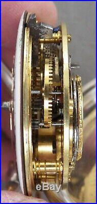 Antique 1839 Hallmarked Sterling Verge Fusee, London, Pair Case