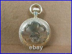 Antique 1888 Elgin 94 14k Solid Gold 6s Ladies Pocket Watch Horse Racing Case