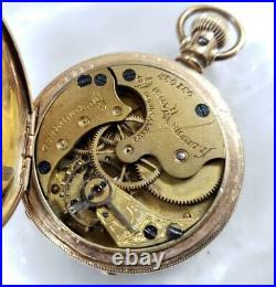 Antique 1889 Illinois Pocket Watch with Gold Filled Hunter Case 4s 7 J 7-H1303