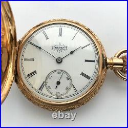Antique 1896 Elgin Pocket Watch 7J Grade 117 6s 14k Solid Gold Hunter Case