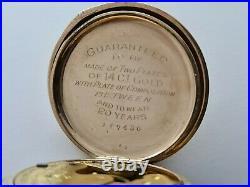 Antique 1901 Waltham 14Ct Illinois Case 0 size 7 Jewels Pocket Watch VGC Rare