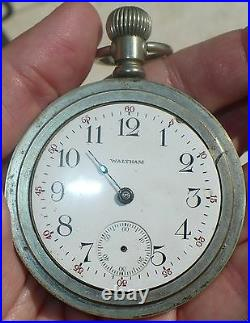 Antique 1908 Waltham Silverode Pocket Watch 18 Size 7 Jewels Train On Back Case