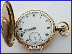 Antique 1910 Swis Pocket Watch Dennison Case 15J Gold Plated Men's Hunter Rare
