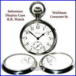 Antique 21 Jewel 18 Size Salesman Display Case Pocket Watch Waltham Crescent St