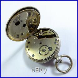 Antique 800 Swiss Silver Case Ladies Fob Watch & Watch Stand, Key Wind Runs Well