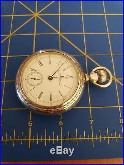 Antique American Waltham Pocket Watch Bartlett 17j Silverode Case Just Serviced
