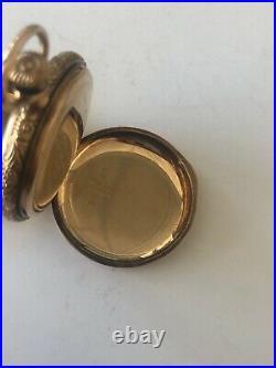 Antique American Waltham Watch Diamond Pocket Watch 14K Case French Inscribed