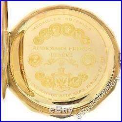 Antique Audemars Freres Etched 15s Pocket Watch Slim Solid 14K Gold Hunter Case