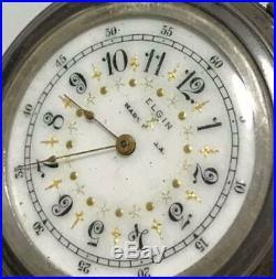Antique ELGIN Open Face Pocket Watch Silver Case 47mm From Japan Rare Junk