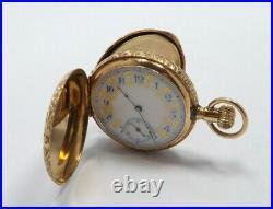 Antique Elgin 14K Gold Engraved Hunters Case Ornate Fancy Dial Pocket Watch 1889